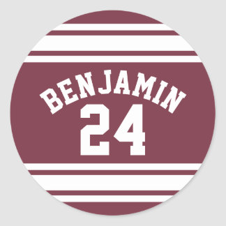 Maroon and White Jersey Stripes Custom Name Number Classic Round Sticker