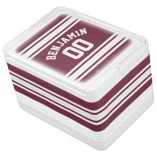 Maroon and White Jersey Stripes Custom Name Number Igloo Cooler