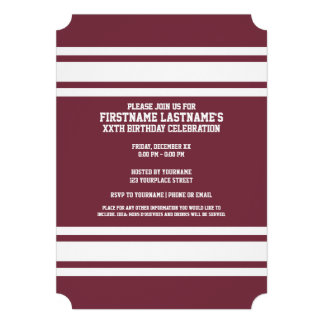 Maroon and White Jersey Stripes Custom Name Number Cards