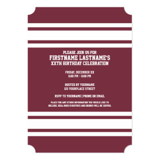 Maroon and White Jersey Stripes Custom Name Number 5x7 Paper Invitation Card