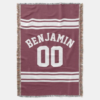 Maroon and White Jersey Stripes Custom Name Number Throw Blanket