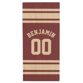 Maroon and White Jersey Stripes Custom Name Number Wood USB Flash Drive