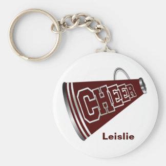 Maroon and White Megaphone Cheerleader KeyChain