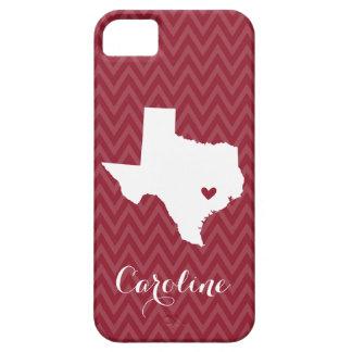 Maroon and White Texas Love Chevron Monogram iPhone 5 Cases