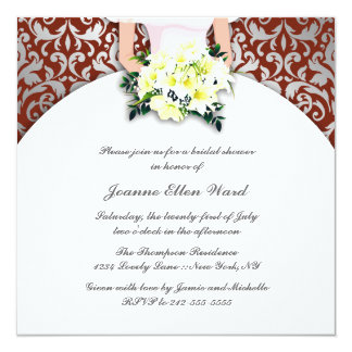 maroon and Yellow Bridal Shower Invitation