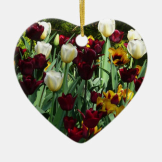 Maroon and Yellow Tulips Colorful Floral Ceramic Heart Decoration