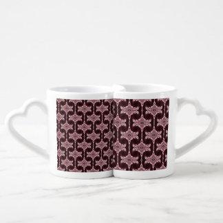Maroon Art Deco Pattern Coffee Mug Set