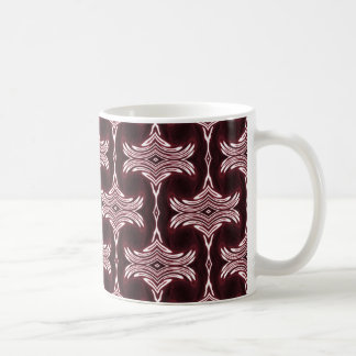 Maroon Art Deco Pattern Coffee Mugs