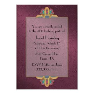 Maroon Art Deco Style Birthday Invitation