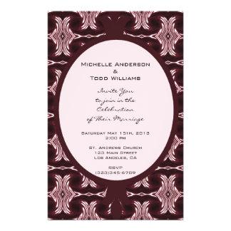 Maroon Art Deco Wedding 14 Cm X 21.5 Cm Flyer