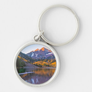 Maroon Bells Alpen Glow Silver-Colored Round Key Ring