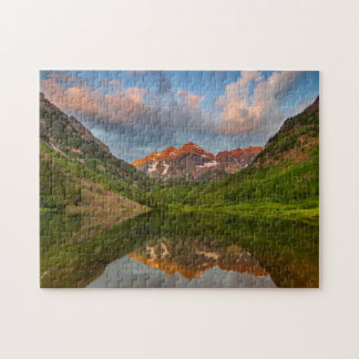 Maroon Bells Reflect Into Calm Maroon Lake 2 Jigsaw Puzzle