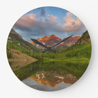 Maroon Bells Reflect Into Calm Maroon Lake 2 Large Clock