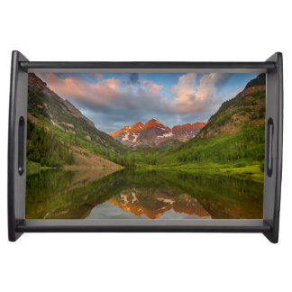 Maroon Bells Reflect Into Calm Maroon Lake 2 Serving Tray