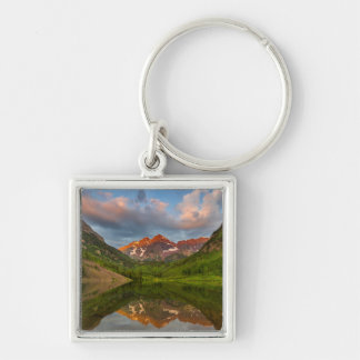Maroon Bells Reflect Into Calm Maroon Lake 2 Silver-Colored Square Key Ring