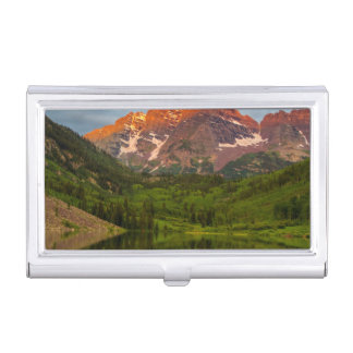 Maroon Bells Reflect Into Calm Maroon Lake 3 Business Card Holder