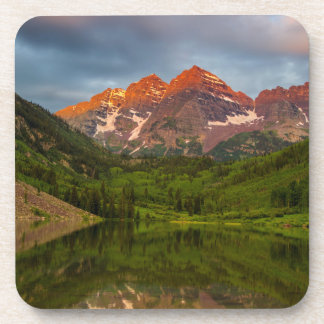 Maroon Bells Reflect Into Calm Maroon Lake 3 Coaster