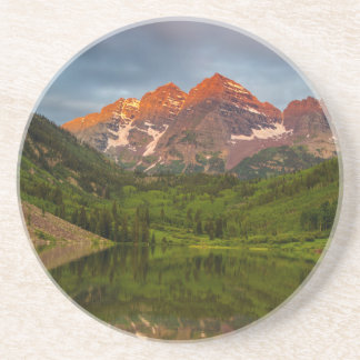 Maroon Bells Reflect Into Calm Maroon Lake 3 Coaster