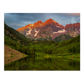 Maroon Bells Reflect Into Calm Maroon Lake 3 Postcard