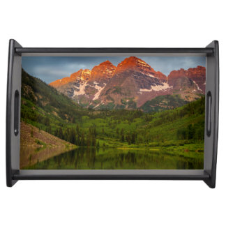 Maroon Bells Reflect Into Calm Maroon Lake 3 Serving Tray
