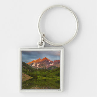Maroon Bells Reflect Into Calm Maroon Lake 3 Silver-Colored Square Key Ring