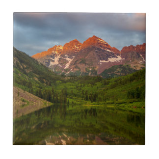 Maroon Bells Reflect Into Calm Maroon Lake 3 Tile