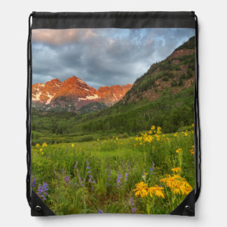 Maroon Bells Reflect Into Calm Maroon Lake Drawstring Bag
