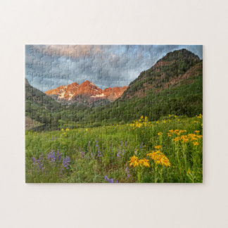 Maroon Bells Reflect Into Calm Maroon Lake Jigsaw Puzzle