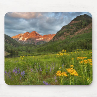 Maroon Bells Reflect Into Calm Maroon Lake Mouse Mat