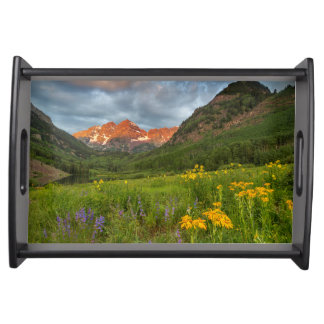 Maroon Bells Reflect Into Calm Maroon Lake Serving Tray