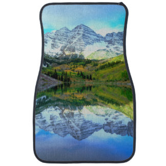 Maroon Bells reflecting in Maroon Lake Car Mat