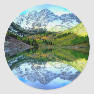 Maroon Bells reflecting in Maroon Lake Classic Round Sticker