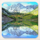 Maroon Bells reflecting in Maroon Lake Square Paper Coaster