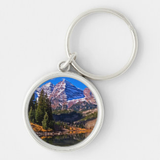 Maroon Bells Silver-Colored Round Key Ring