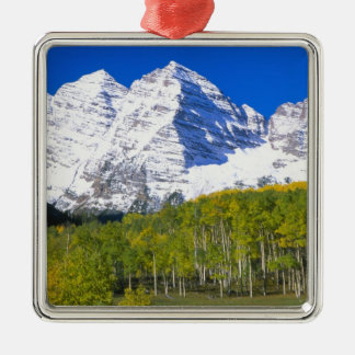 Maroon Bells with autumn aspen forest. Christmas Ornament