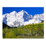 Maroon Bells with autumn aspen forest. Post Card