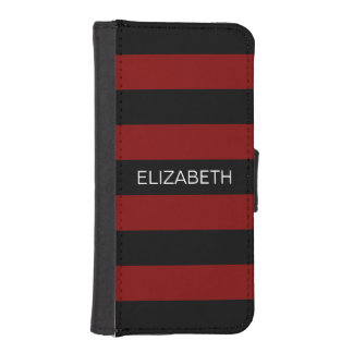 Maroon Black Horiz Preppy Stripe #2 Name Monogram iPhone SE/5/5s Wallet Case