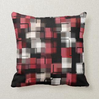 Maroon Black White Abstract Plaid Cushion