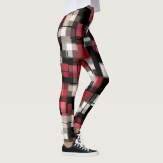 Maroon Black White Plaid Leggings