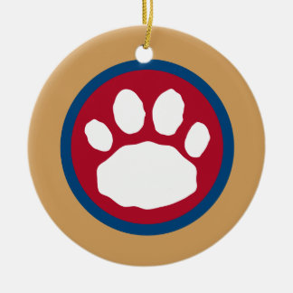 Maroon, Blue and Gold Paw Print Round Ceramic Decoration