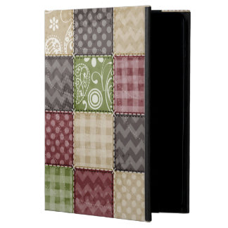 Maroon, Brown, Tan, & Green Quilt Look Cover For iPad Air