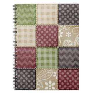 Maroon, Brown, Tan, & Green Quilt Look Notebooks