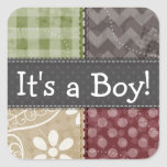 Maroon, Brown, Tan, & Green Quilt Look Square Sticker