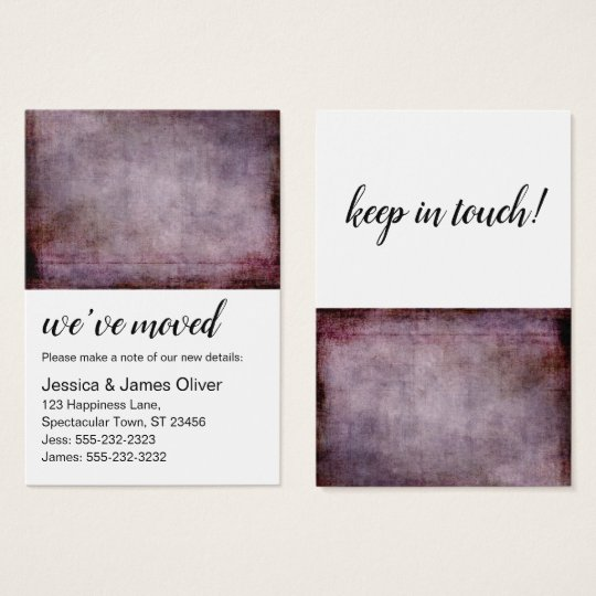 Maroon Burgundy Grunge We've Moved Handout Card