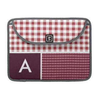 Maroon Checkered; Gingham Sleeve For MacBooks