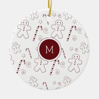 Maroon Christmas Pattern Monogram | Ornament