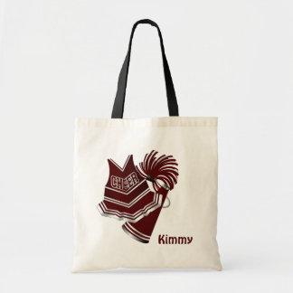 Maroon Custom Cheerleader Canvas Tote Bag