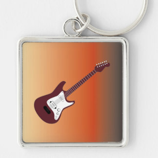 Maroon Electric Guitar, Red to Yellow Gradient Bac Silver-Colored Square Key Ring