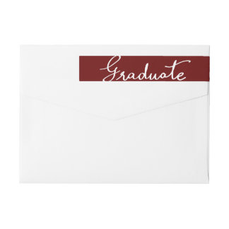 Maroon Elegant Graduate Typography Wrap Around Label