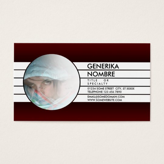 maroon faded window business card